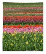 Tractor Among The Tulips Fleece Blanket