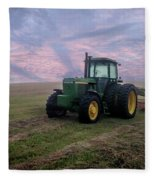 Tractor In A Field - Early Morning Fleece Blanket