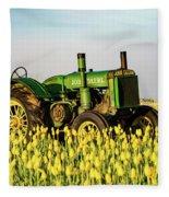 Tractor In A Field Fleece Blanket
