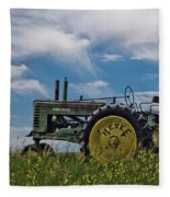 Tractor In Field Fleece Blanket