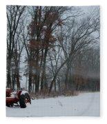 Tractor In The Fog Fleece Blanket