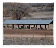 Tractor Port On The Ranch Fleece Blanket
