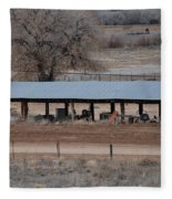 Tractor Port On The Ranch Fleece Blanket
