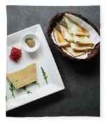 Traditional French Foie Gras Pate And Toast Starter Snack Platte Fleece Blanket