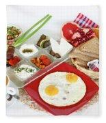 Traditional Israeli Breakfast Fleece Blanket