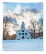 Traditional New England White Church Etna New Hampshire Fleece Blanket