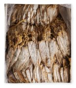 Traditional Sun Dried Squid In Kep Market Cambodia Fleece Blanket