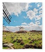 Traditional White Windmills  Fleece Blanket