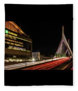 Traffic Racing Over Zakim Bridge Fleece Blanket