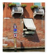 Traffic Signs On The Canal In Venice Italy Fleece Blanket