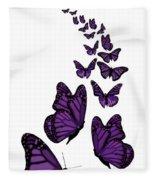 Trail Of The Purple Butterflies Transparent Background Fleece Blanket