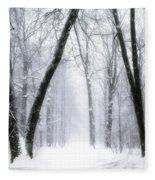 Trail Through The Winter Forest Fleece Blanket