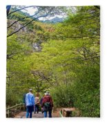 Trail To Waterfall In Vicente Perez Rosales National Park Near Puerto Montt-chile Fleece Blanket
