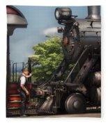 Train - Engine - Alllll Aboard Fleece Blanket