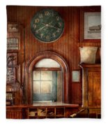 Train - Office - The Ticket Takers Window Fleece Blanket