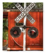 Train - Yard - Railroad Crossing Fleece Blanket