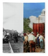 Train - Accident - Butting Heads 1922 - Side By Side Fleece Blanket