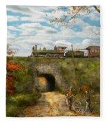 Train - Arlington Nj - Enjoying The Autumn Day - 1890 Fleece Blanket
