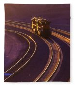 Train At Sunset Fleece Blanket
