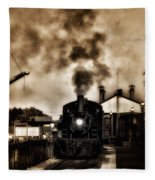 Train Coming In The Station Fleece Blanket
