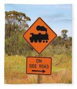 Train Engine Locomotive Sign Fleece Blanket
