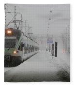 Train In Helsinki Fleece Blanket