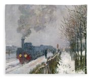 Train In The Snow Or The Locomotive Fleece Blanket