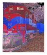 Train On Railroad Tracks - Abstract In Blue And Red Fleece Blanket