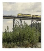 Train On Trestle Fleece Blanket