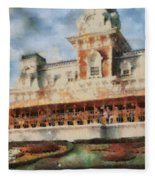 Train Station At Magic Kingdom Fleece Blanket
