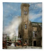 Train Station - Look Out For The Train 1910 Fleece Blanket
