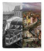 Train Station - Wuppertal Suspension Railway 1913 - Side By Side Fleece Blanket