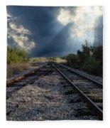 Train Track Junction In Charleston Sc Fleece Blanket