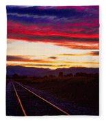 Train Track Sunset Fleece Blanket