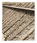 Train Tracks Sepia Triangular  Fleece Blanket