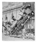 Train Wreck At Montparnasse Station Fleece Blanket
