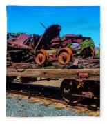 Train Wreckage On Flat Car Fleece Blanket