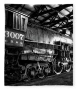 Trains 3007 C B Q Steam Engine Bw Fleece Blanket