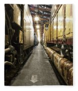 Trains Ancient Iron In The Barn Fleece Blanket