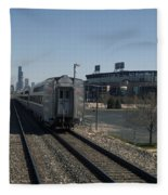 Trains Passing The Home Of The Chicago White Sox Fleece Blanket