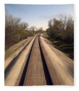 Trains Power Approaching The Crossing Fleece Blanket