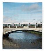 Tram On The Sean Heuston Bridge Fleece Blanket