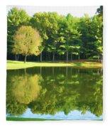 Tranquil Landscape At A Lake 2 Fleece Blanket