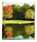 Tranquil Landscape At A Lake 3 Fleece Blanket