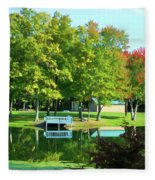 Tranquil Landscape At A Lake 4 Fleece Blanket
