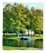 Tranquil Landscape At A Lake 8 Fleece Blanket