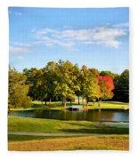 Tranquil Landscape At A Lake 9 Fleece Blanket