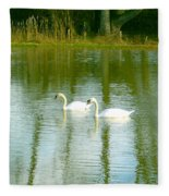 Tranquil Reflection Swans Fleece Blanket