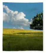 Tranquil Solitude Billowing Clouds Oak Tree Field Art Fleece Blanket