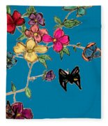 Transparent Flowers And Butterflies In Color Fleece Blanket